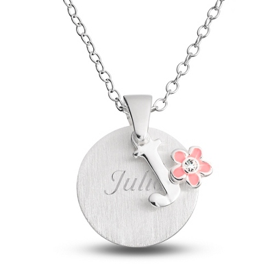 "Sterling Girl's ""J"" Initial with Flower with complimentary Filigree Keepsake Box - Flower Girl"