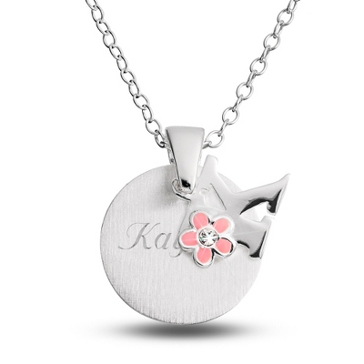 "Sterling Girl's ""K"" Initial with Flower with complimentary Filigree Keepsake Box - Flower Girl"
