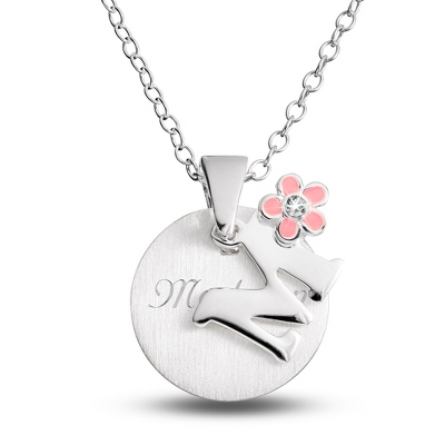 "Sterling Girl's ""M"" Initial with Flower with complimentary Filigree Keepsake Box"