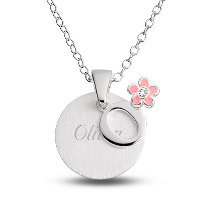 "Sterling Girl's ""O"" Initial with Flower with complimentary Filigree Keepsake Box"