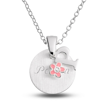 "Sterling Girl's ""P"" Initial with Flower with complimentary Filigree Keepsake Box"