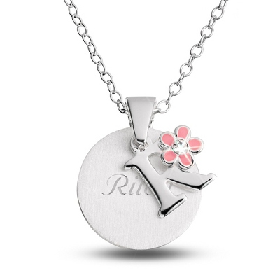 "Sterling Girl's ""R"" Initial with Flower with complimentary Filigree Keepsake Box"