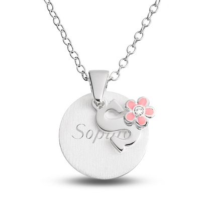 "Sterling Girl's ""S"" Initial with Flower with complimentary Filigree Keepsake Box"