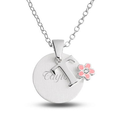 "Sterling Girl's ""T"" Initial with Flower with complimentary Filigree Keepsake Box"
