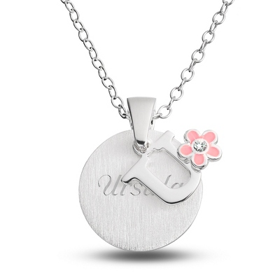 "Sterling Girl's ""U"" Initial with Flower with complimentary Filigree Keepsake Box"