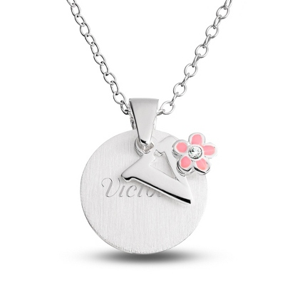 "Sterling Girl's ""V"" Initial with Flower with complimentary Filigree Keepsake Box"