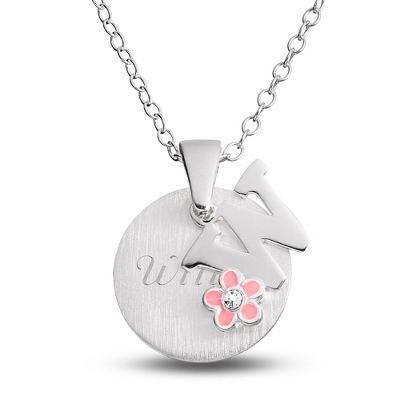 "Sterling Girl's ""W"" Initial with Flower with complimentary Filigree Keepsake Box"