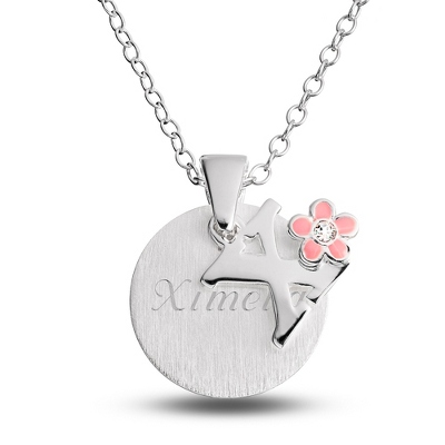 "Sterling Girl's ""X"" Initial with Flower with complimentary Filigree Keepsake Box"