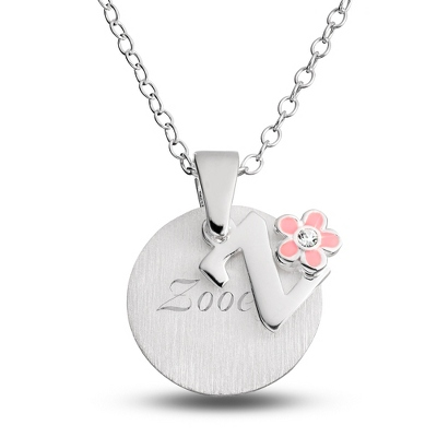 "Sterling Girl's ""Z"" Initial with Flower with complimentary Filigree Keepsake Box"
