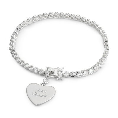 Bezel Set CZ Tennis Bracelet with complimentary Filigree Keepsake Box - $34.99