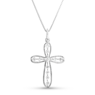 Open CZ Cross Necklace with complimentary Filigree Keepsake Box - Fashion Necklaces