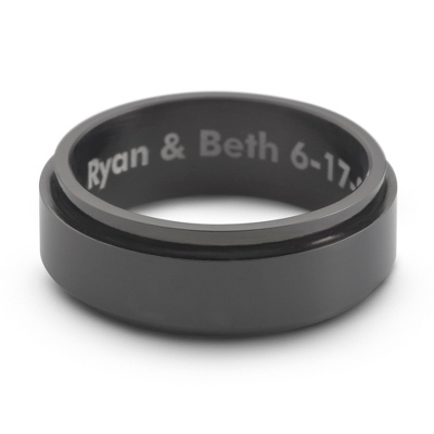 Black Stainless Steel Spinner Wedding Band with complimentary Tri Tone Valet Box