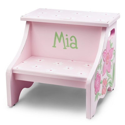 Pink Flower Hand-painted Stool