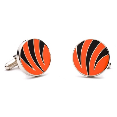 Cincinnati Bengals Cuff links with complimentary Weave Texture Valet Box