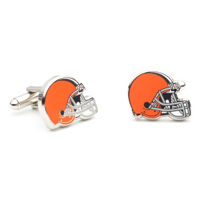Cleveland Browns Cuff Links with complimentary Weave Texture Valet Box