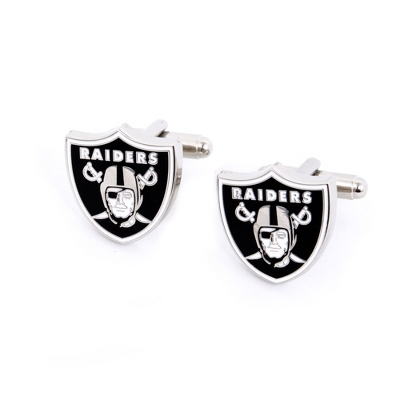 Oakland Raiders Cuff Links with complimentary Weave Texture Valet Box