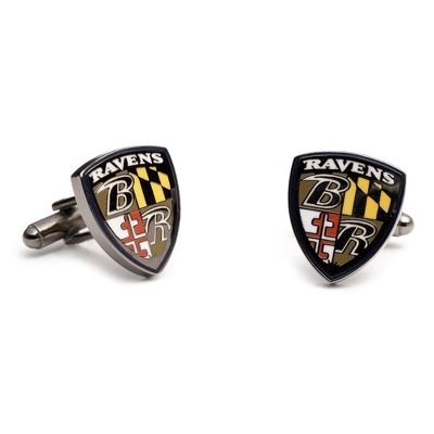 Baltimore Ravens Cuff Links with complimentary Weave Texture Valet Box