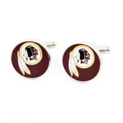Washington Redskins Cuff Links with complimentary Weave Texture Valet Box - Tie Bars & Cuff Links