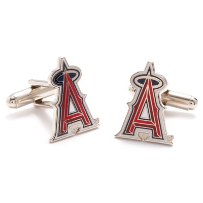 Los Angeles Angels Cuff Links with complimentary Weave Texture Valet Box - Tie Bars & Cuff Links