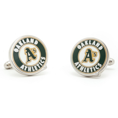 Oakland Athletics Cuff Links with complimentary Weave Texture Valet Box - UPC 825008264427