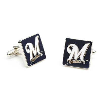 Milwaukee Brewers Cuff Links with complimentary Weave Texture Valet Box - Tie Bars & Cuff Links