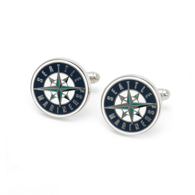 Seattle Mariners Cuff Links with complimentary Weave Texture Valet Box