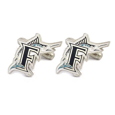 Florida Marlins Cuff Links with complimentary Weave Texture Valet Box