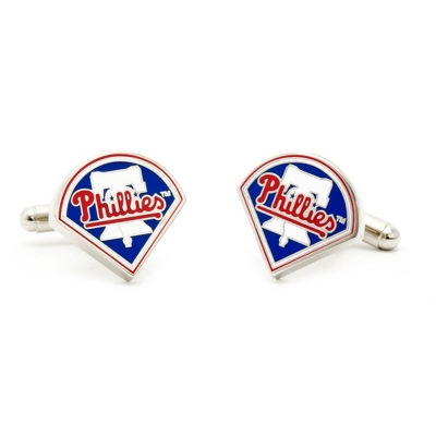Philadelphia Phillies Cuff Links with complimentary Weave Texture Valet Box