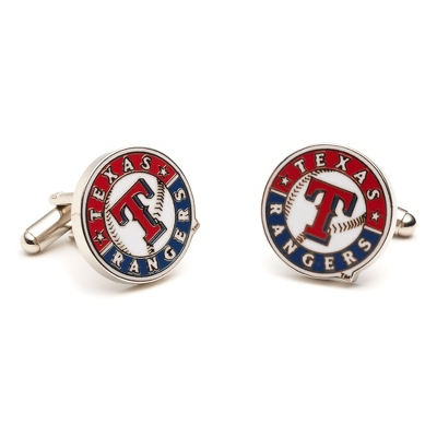 Texas Rangers Cuff Links with complimentary Weave Texture Valet Box - Tie Bars & Cuff Links