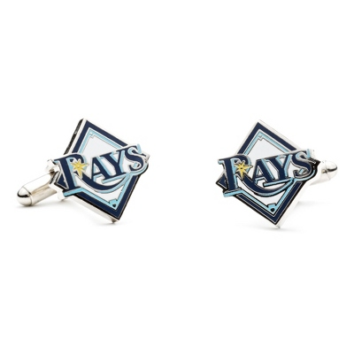 Tampa Bay Rays Cuff Links with complimentary Weave Texture Valet Box - Tie Bars & Cuff Links