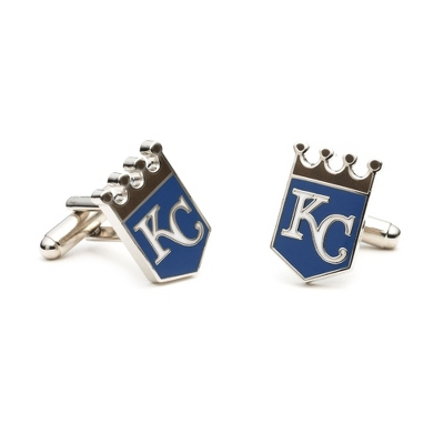 Kansas City Royals Cuff Links with complimentary Weave Texture Valet Box - Tie Bars & Cuff Links