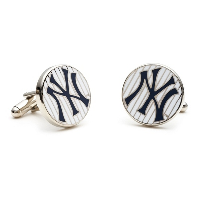 New York Yankee Pinstripe Cuff Links with complimentary Weave Texture Valet Box - UPC 825008264694