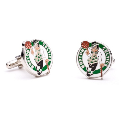 Boston Celtics Cuff Links with complimentary Weave Texture Valet Box - Men's Jewelry