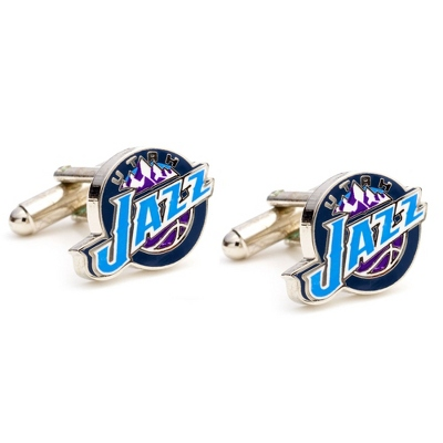 Utah Jazz Cuff Links with complimentary Weave Texture Valet Box - Men's Jewelry