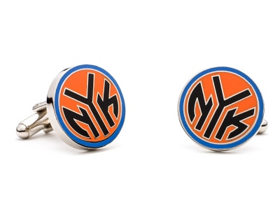 New York Knicks Cuff Links with complimentary Weave Texture Valet Box