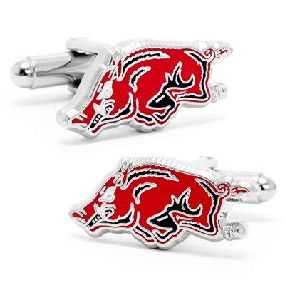 University of Arkansas Cuff Links with complimentary Weave Texture Valet Box - Tie Bars & Cuff Links