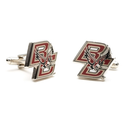 Boston College Cuff Links with complimentary Weave Texture Valet Box - Men's Jewelry