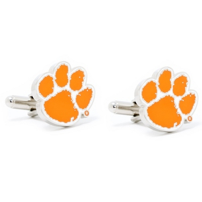 Clemson University Cuff Links with complimentary Weave Texture Valet Box - $60.00