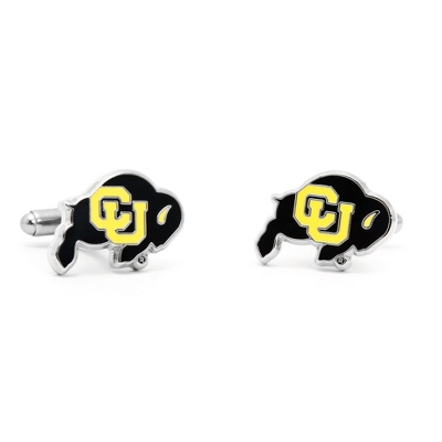 University of Colorado Cuff Links with complimentary Weave Texture Valet Box - Tie Bars & Cuff Links