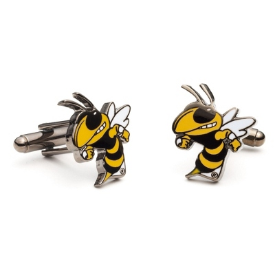 Georgia Institute of Technology Cuff Links with complimentary Weave Texture Valet Box - $60.00