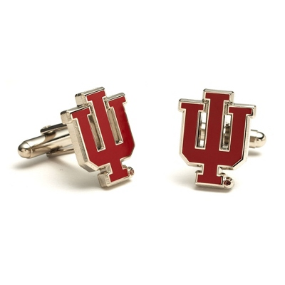 Indiana University Cuff Links with complimentary Weave Texture Valet Box - Men's Jewelry