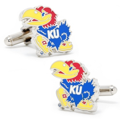 Kansas University Cuff Links with complimentary Weave Texture Valet Box - Tie Bars & Cuff Links