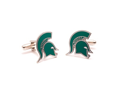Michigan State University Cuff Links with complimentary Weave Texture Valet Box - Tie Bars & Cuff Links
