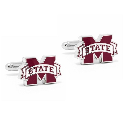 Mississippi State University Cuff Links with complimentary Weave Texture Valet Box - Tie Bars & Cuff Links