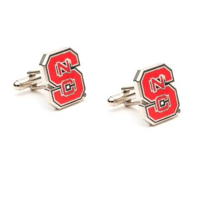 North Carolina State University Cuff Links with complimentary Weave Texture Valet Box