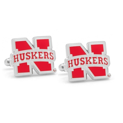University of Nebraska Cuff Links with complimentary Weave Texture Valet Box - Men's Jewelry