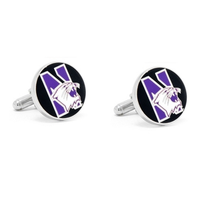Northwestern University Cuff Links with complimentary Weave Texture Valet Box