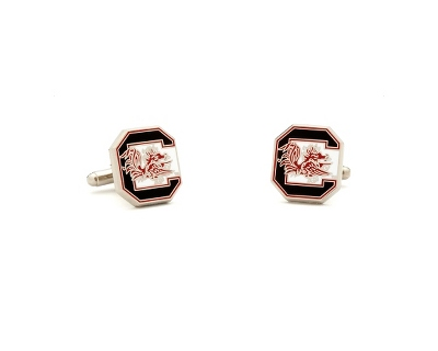 University of South Carolina Cuff Links with complimentary Weave Texture Valet Box - Tie Bars & Cuff Links