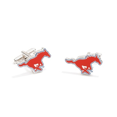 Southern Methodist University Cuff Links with complimentary Weave Texture Valet Box
