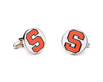 Syracuse University Cuff Links with complimentary Weave Texture Valet Box - Tie Bars & Cuff Links